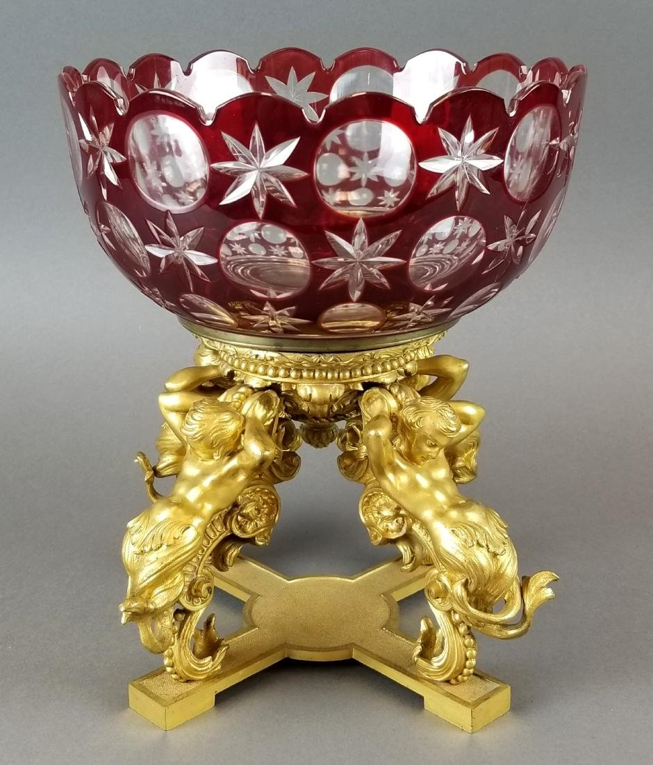 19th C. French Bronze & Baccarat Crystal Centerpiece