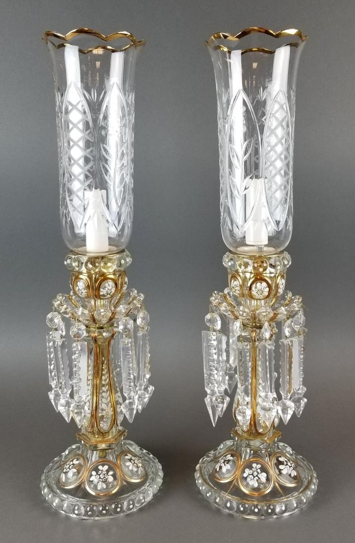 Pair of Baccarat Style Hurricane Luster