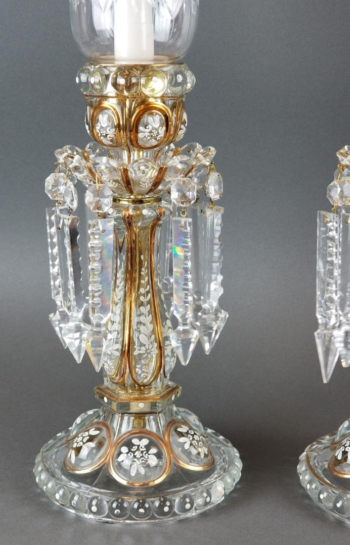 Pair of Baccarat Style Hurricane Luster - 2