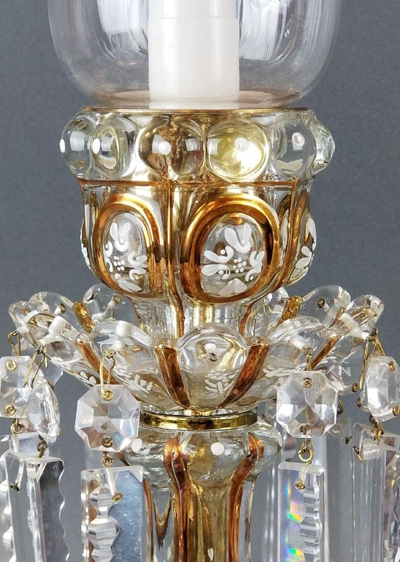 Pair of Baccarat Style Hurricane Luster - 4