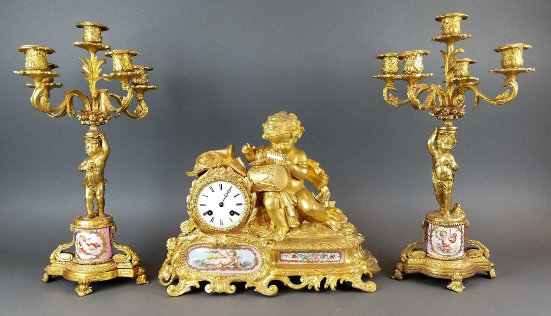 19th C. French Sevres & Figural Bronze Clockset