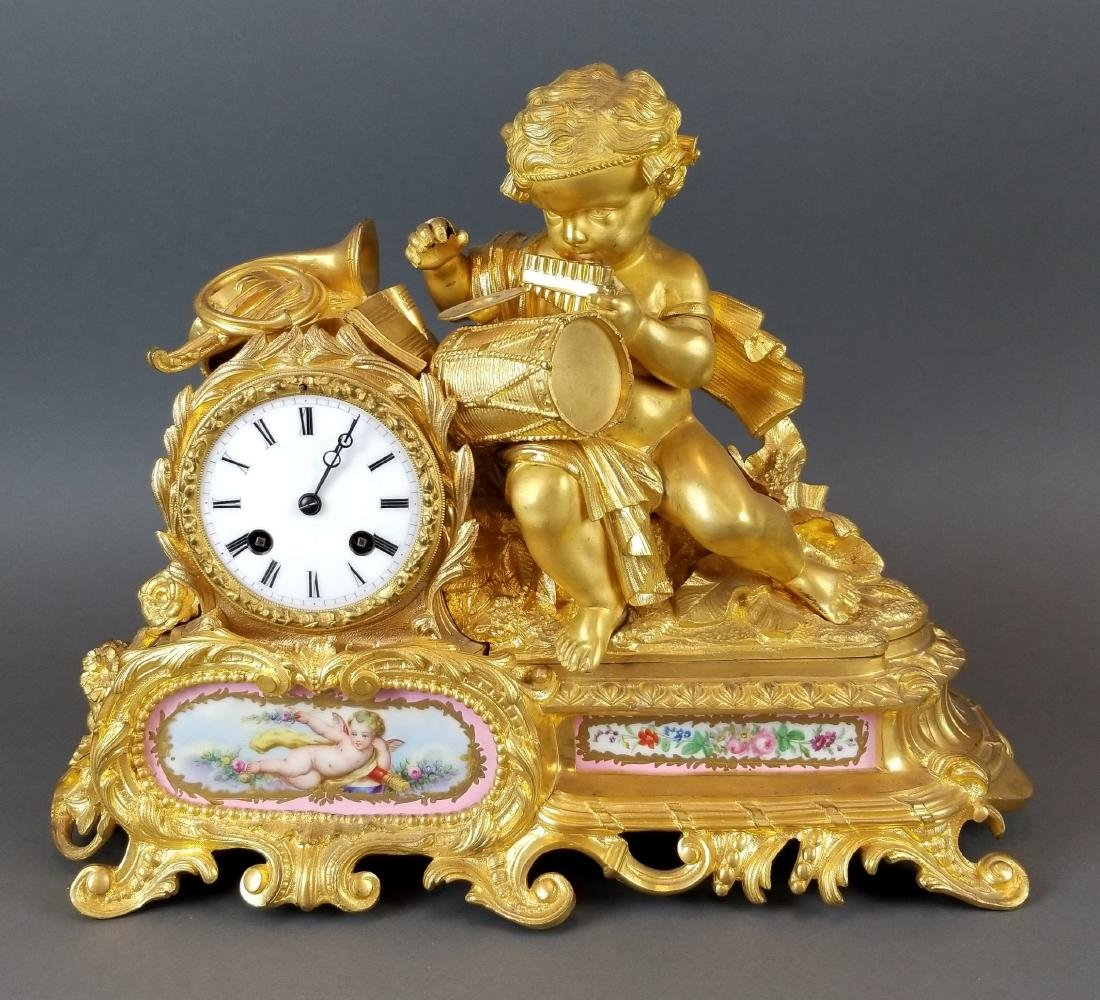 19th C. French Sevres & Figural Bronze Clockset - 2