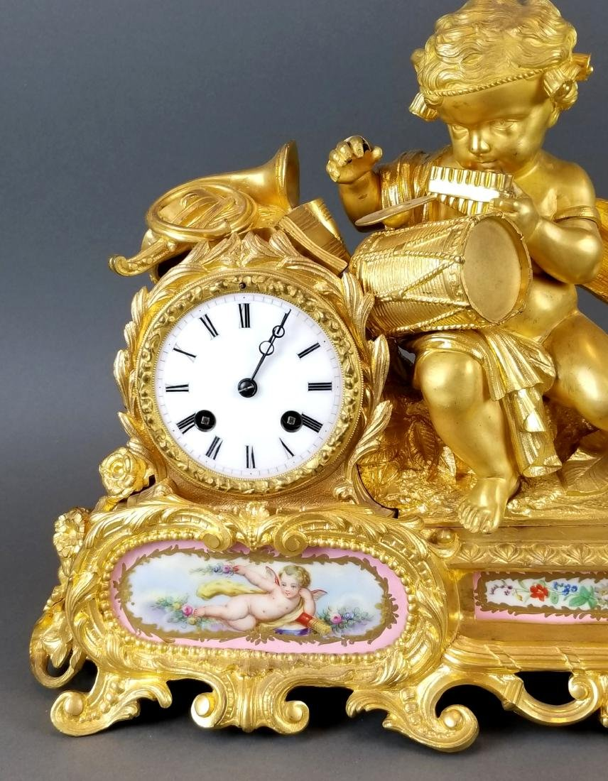 19th C. French Sevres & Figural Bronze Clockset - 3