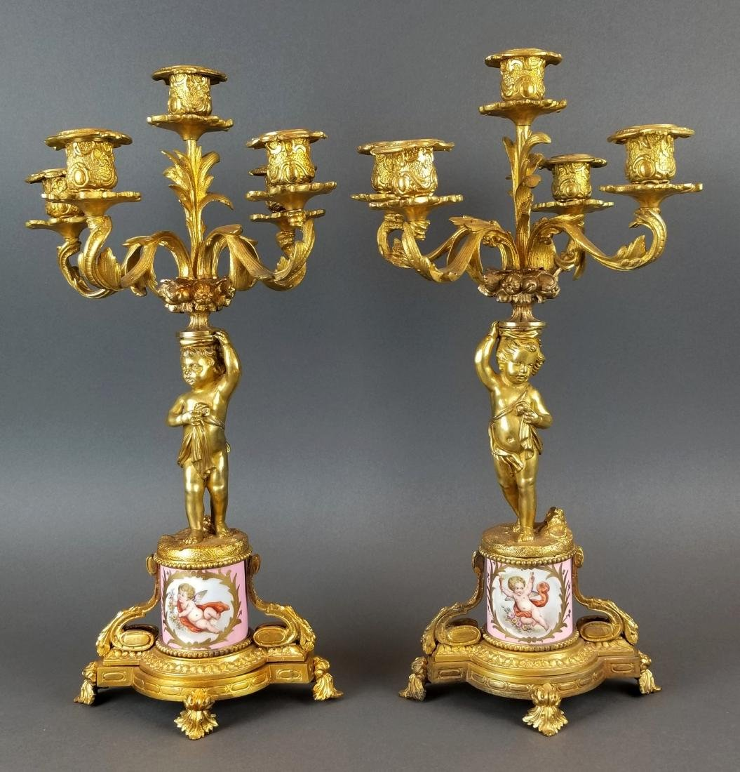 19th C. French Sevres & Figural Bronze Clockset - 5