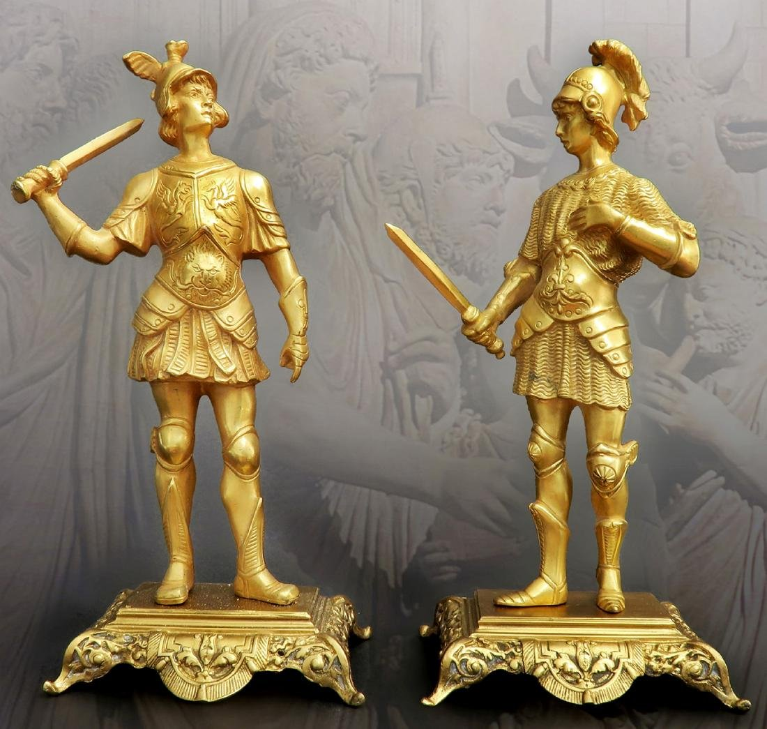 Pair Of Tiffany & Co  Gilded Bronze  Roman Soldiers