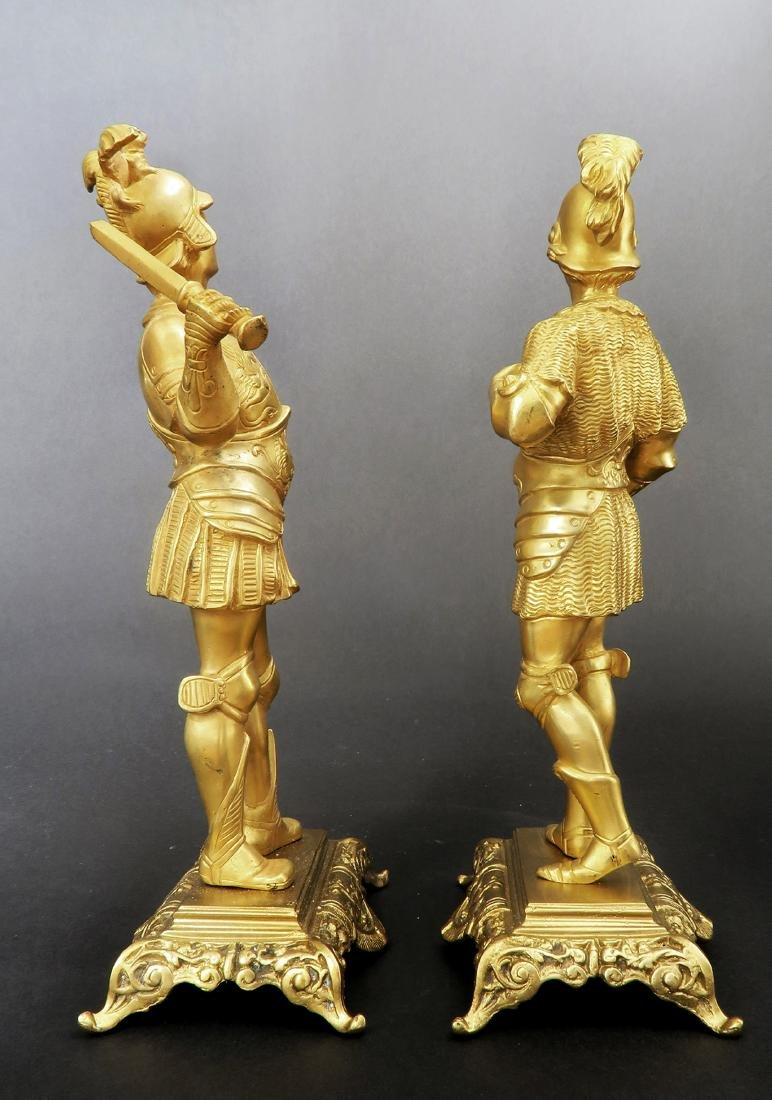 Pair Of Tiffany & Co  Gilded Bronze  Roman Soldiers - 2