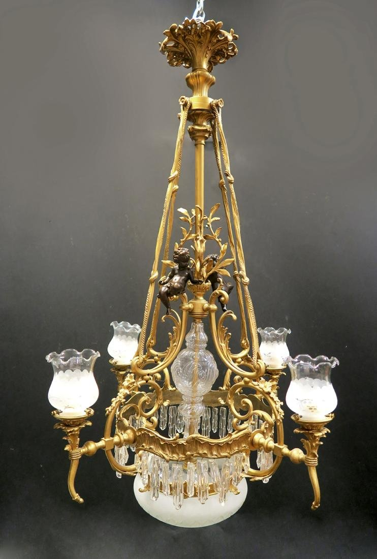 19th C French Figural Bronze & Crystal Chandelier - 2
