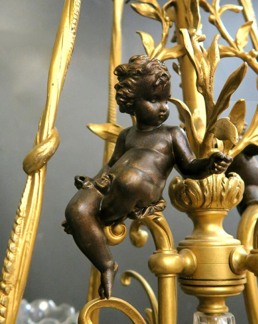 19th C French Figural Bronze & Crystal Chandelier - 3