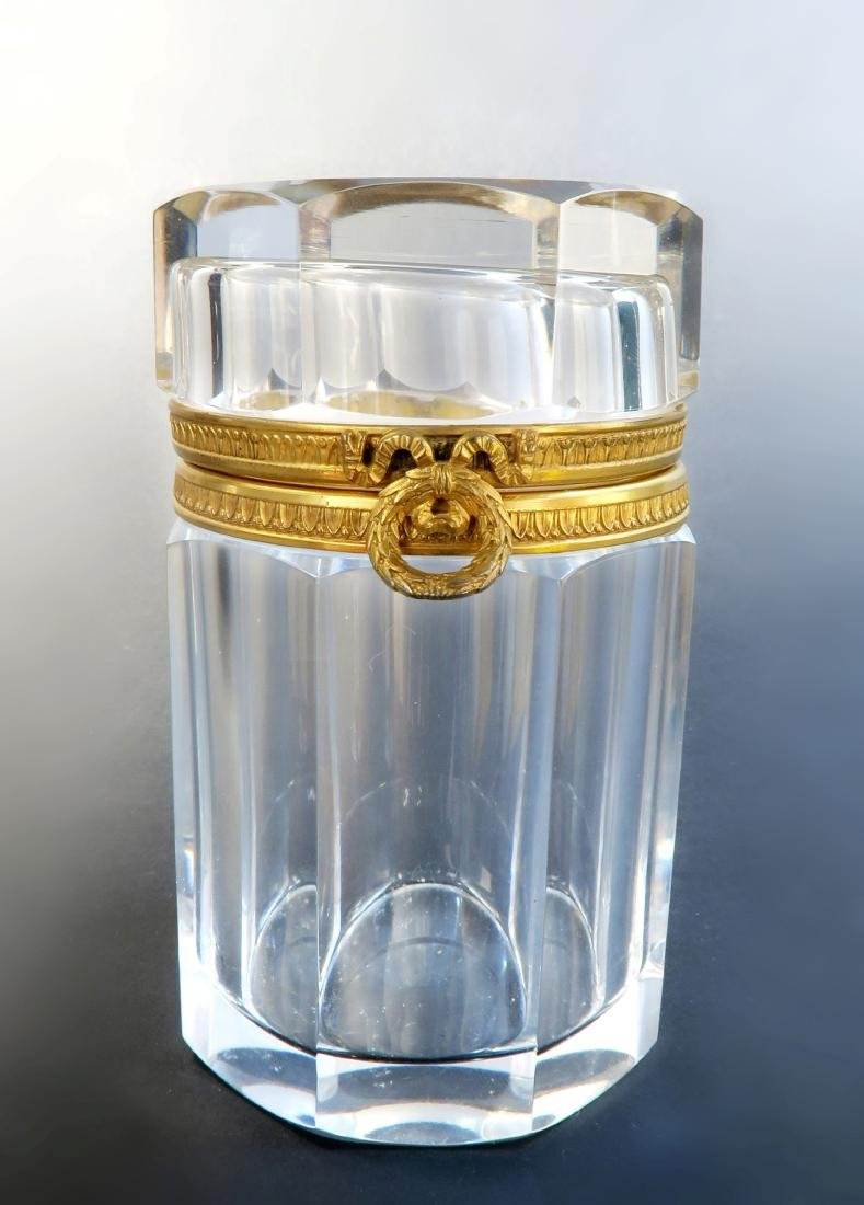 19th C French Baccarat Crystal Bronze Box