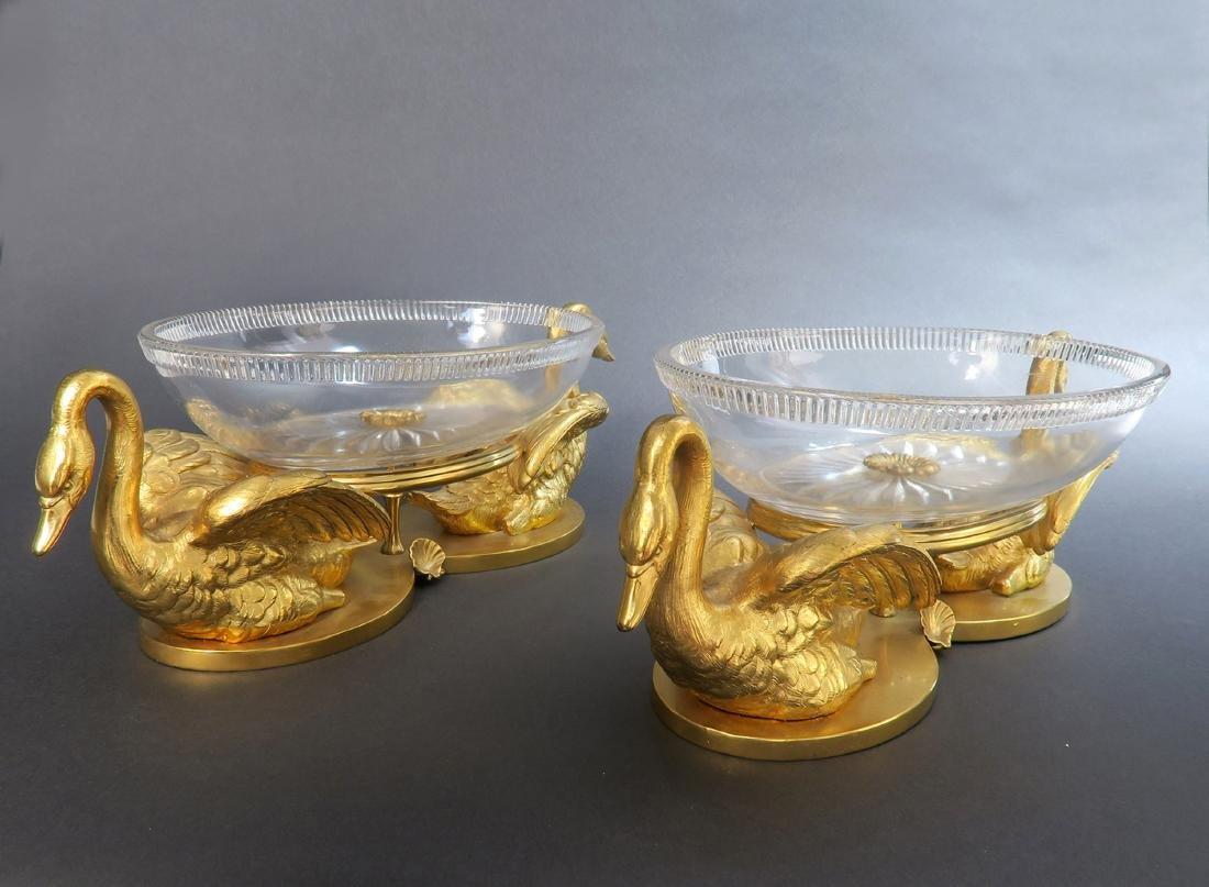 A Pair of Elkington Cut-Glass and Gilt Bronze Swan - 3