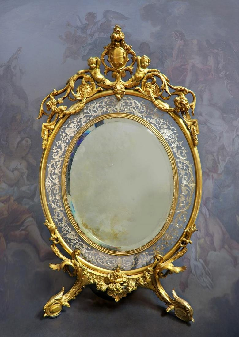 19th C  Large French  Napoleon III Gilt-Bronze and