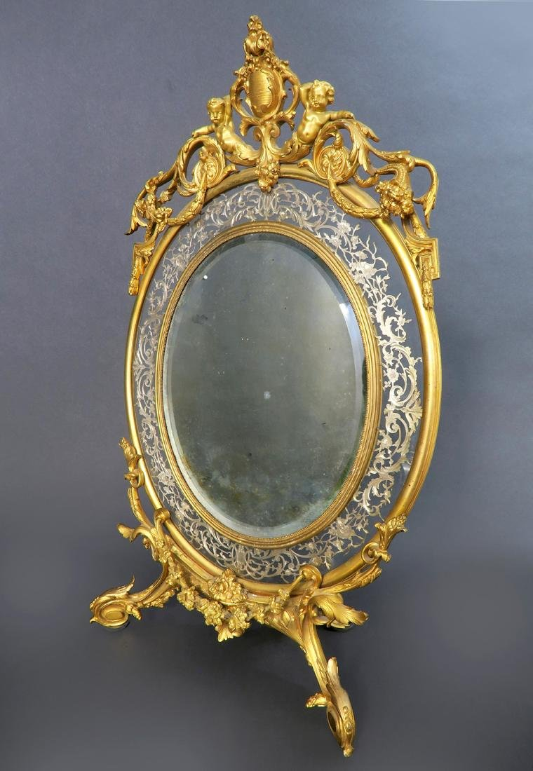 19th C  Large French  Napoleon III Gilt-Bronze and - 2