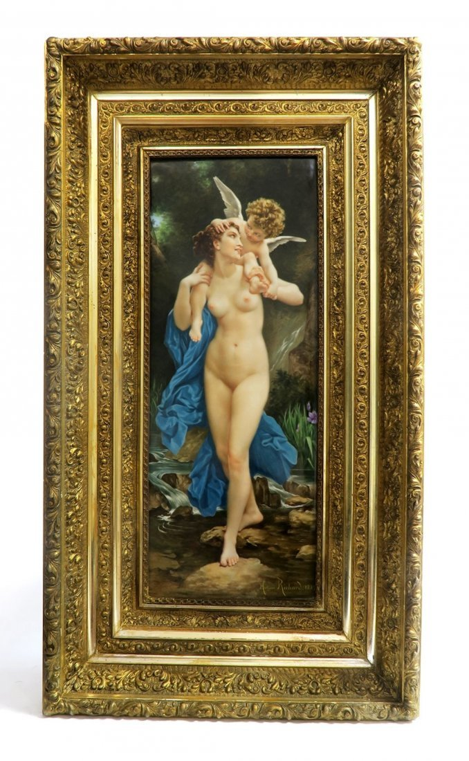 Monumental 19th C Nude Berlin KPM Plaque By MORTENSE
