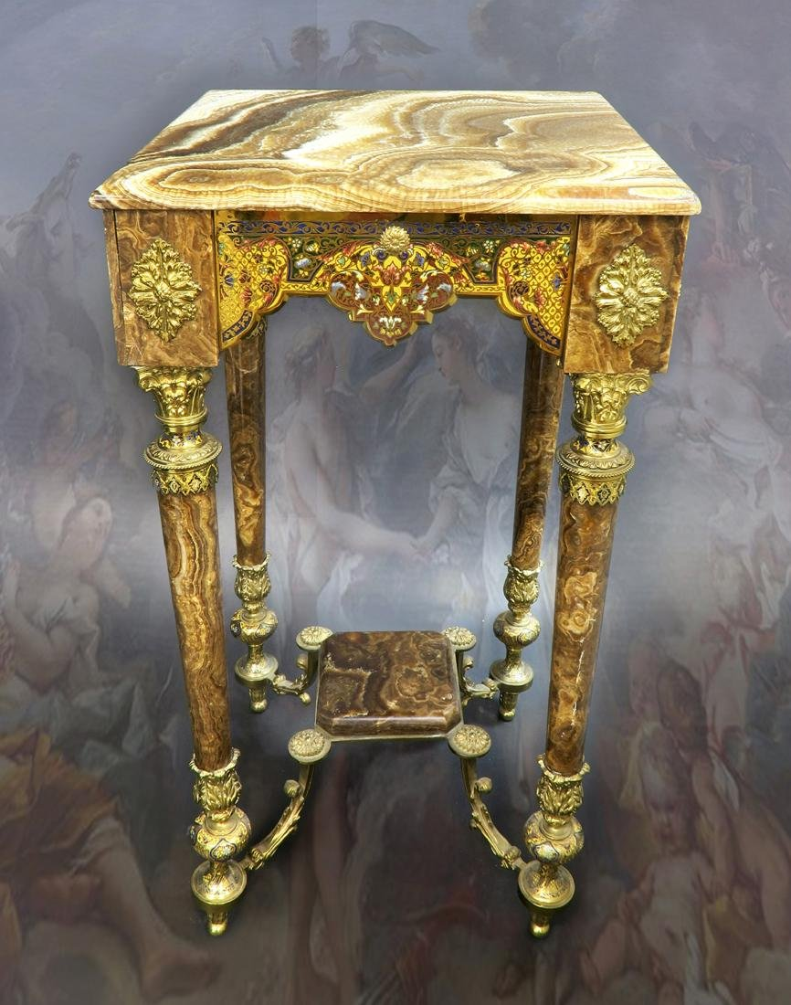 19th C French Champleve Enamel Brown Onyx Side Table in