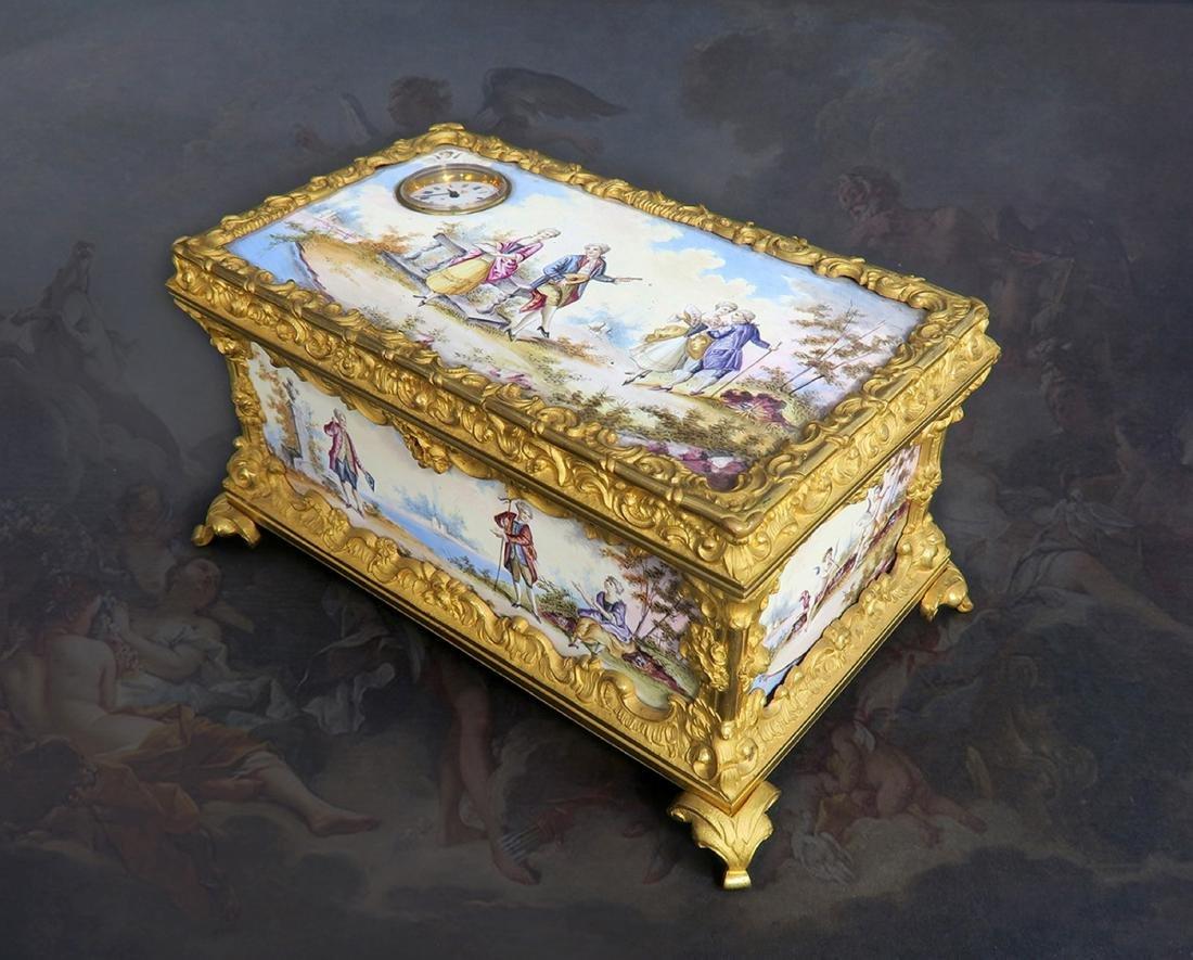 Mid 19th C. Viennese Enamel Gilded Ormolu Casket w/