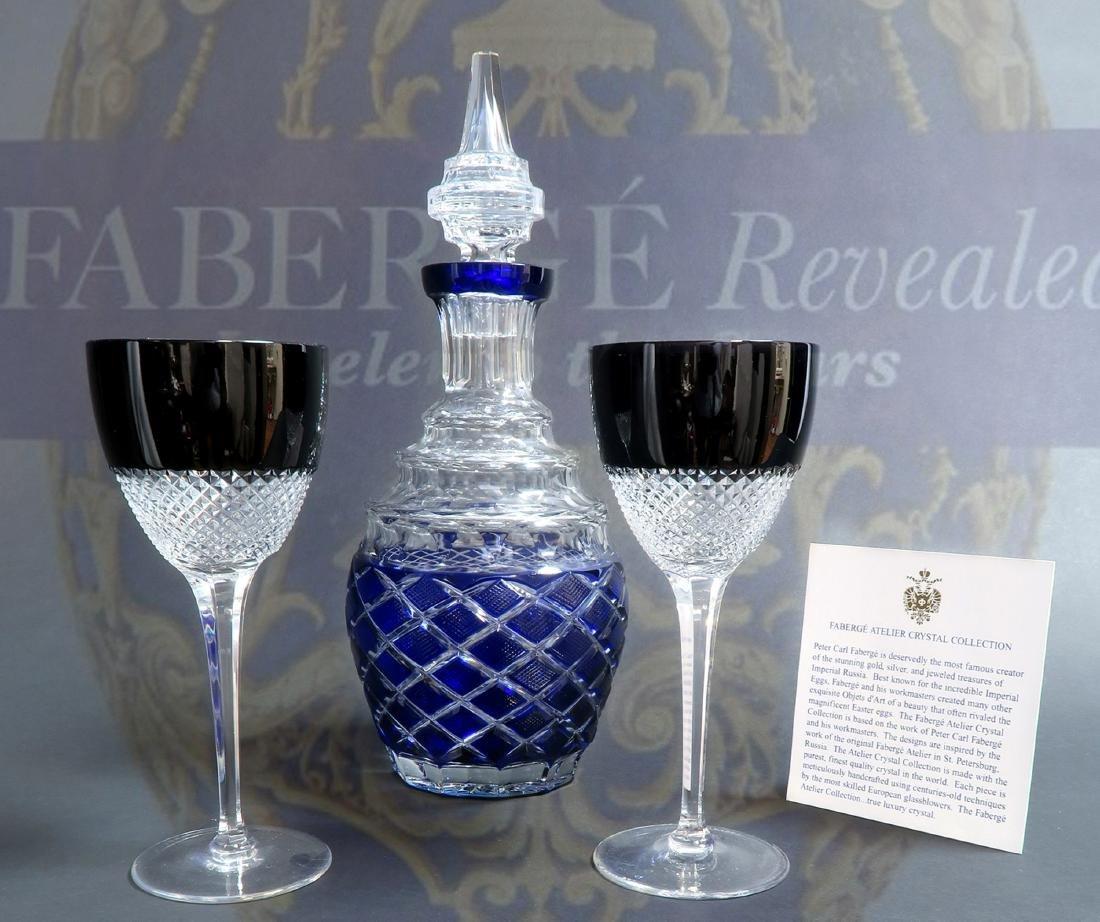 Signed Faberge Crystal Decanter & 2 Glasses