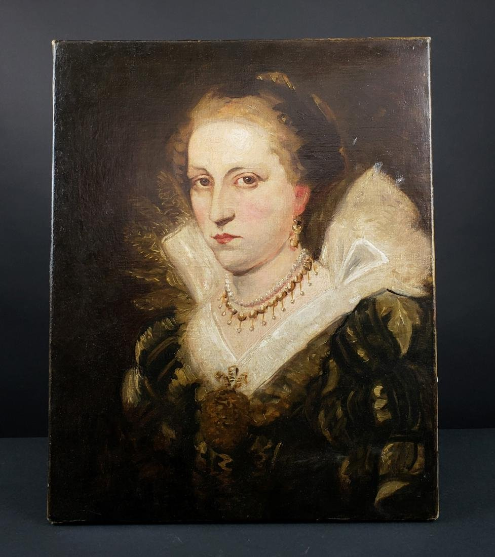 Oil Painting on Canvas of a Nobel of a Lady Signed A.