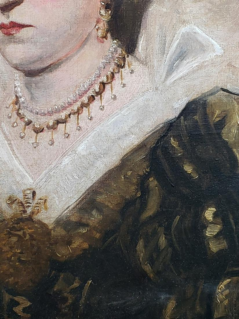 Oil Painting on Canvas of a Nobel of a Lady Signed A. - 3
