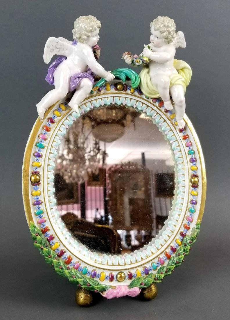 19th C. Meissen Figural Porcelain Mirror