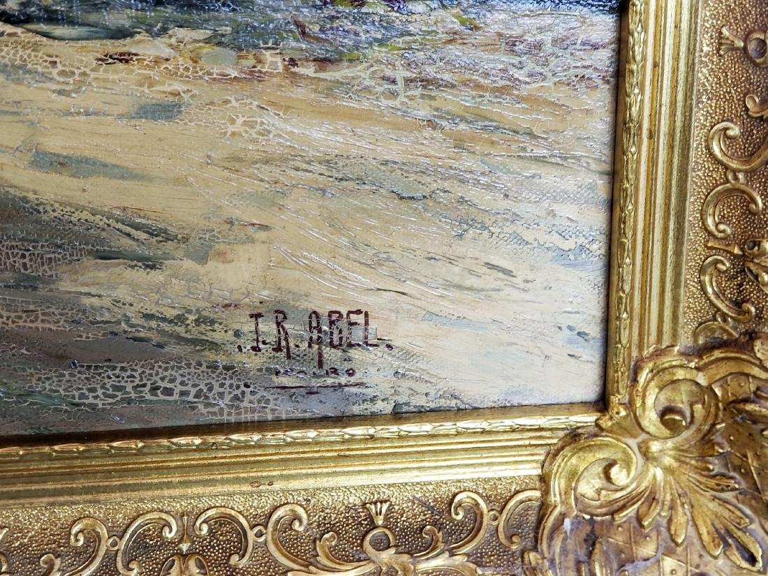 I.R. Abel Signed Large Oreientalist Oil on Canvas - 4
