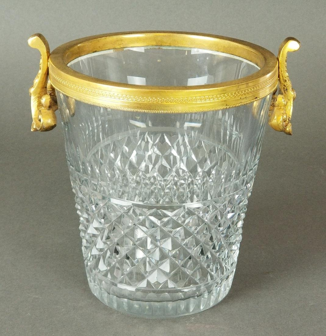 French Baccarat Cut Crystal & Bronze Bucket