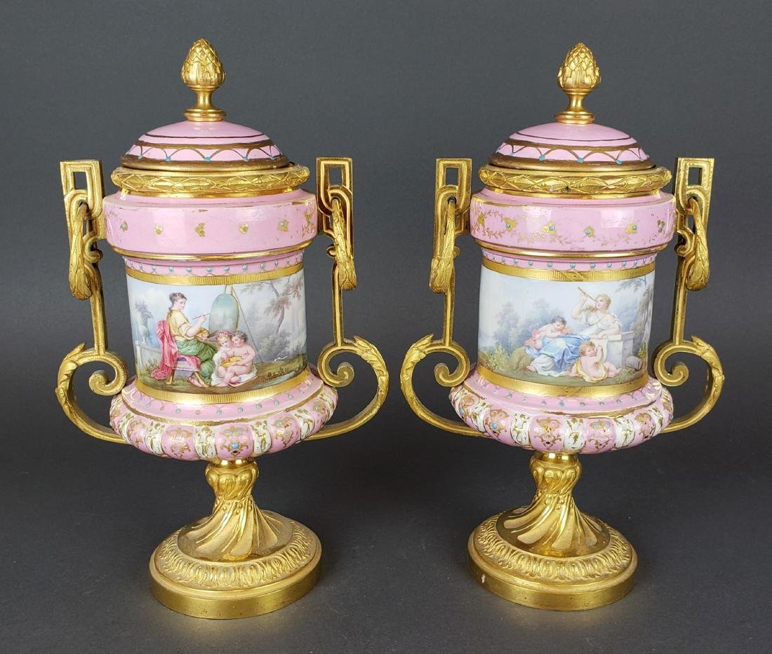 Pair of French Sevres Pink Porcelain & Bronze Urns