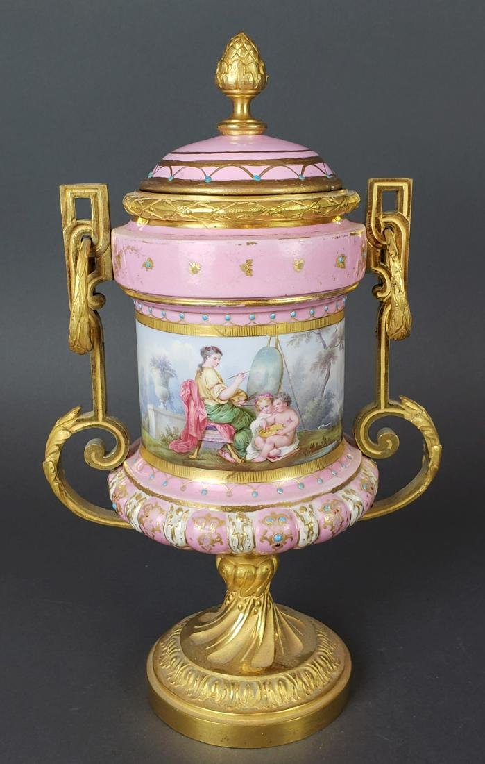 Pair of French Sevres Pink Porcelain & Bronze Urns - 2