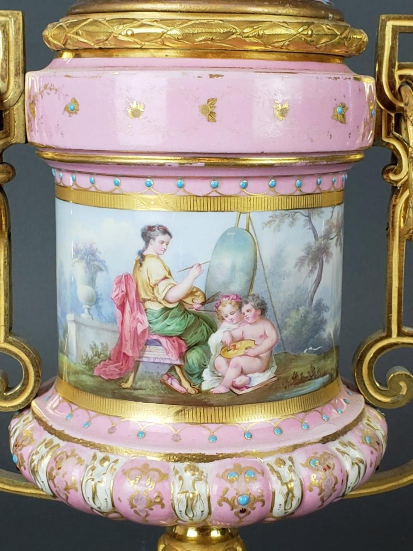 Pair of French Sevres Pink Porcelain & Bronze Urns - 3