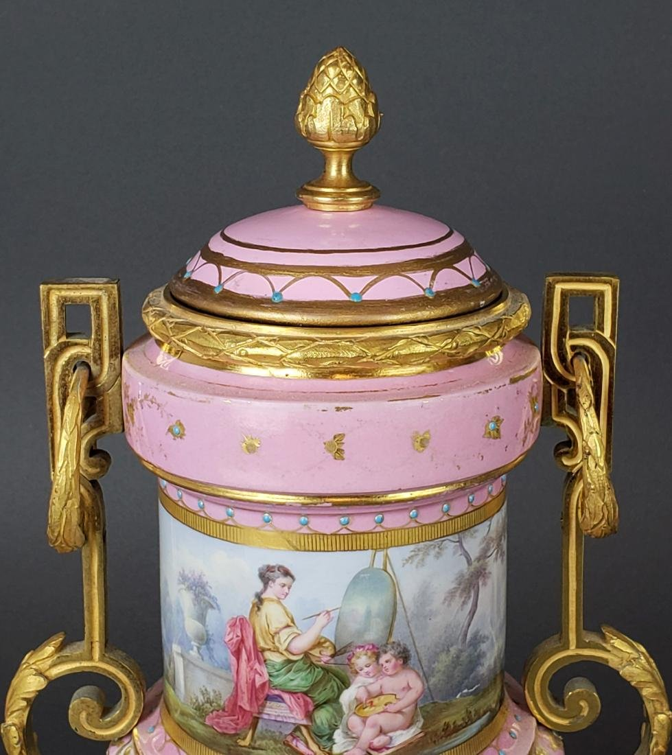 Pair of French Sevres Pink Porcelain & Bronze Urns - 5
