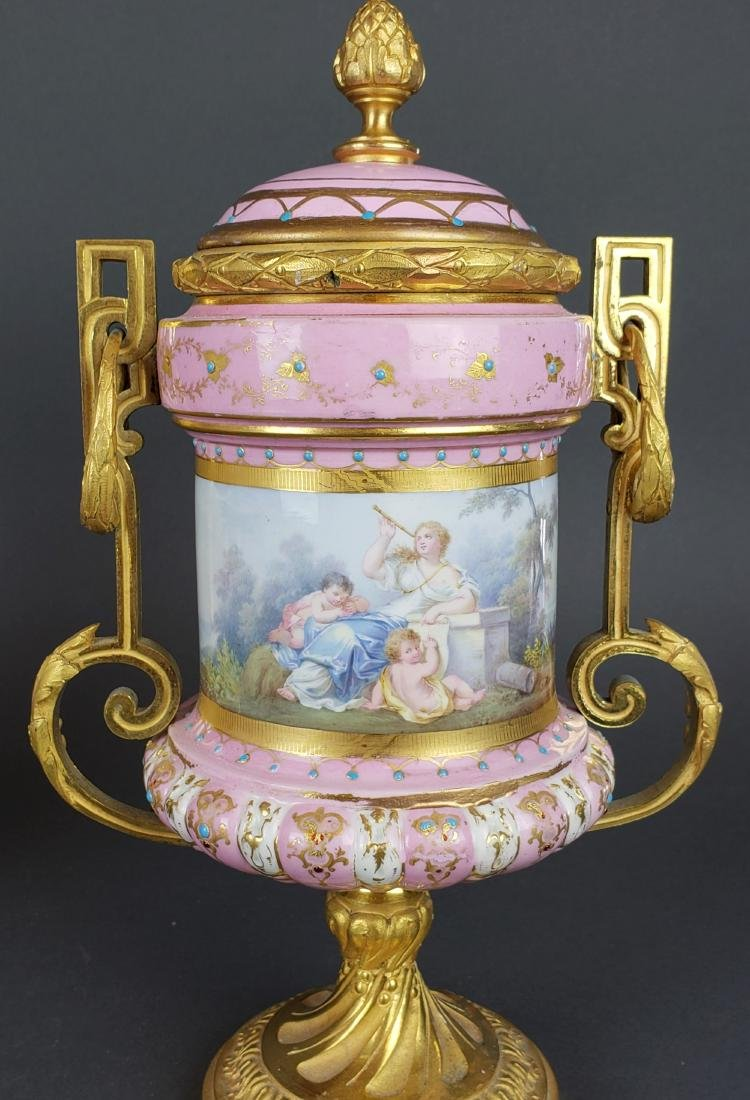 Pair of French Sevres Pink Porcelain & Bronze Urns - 6