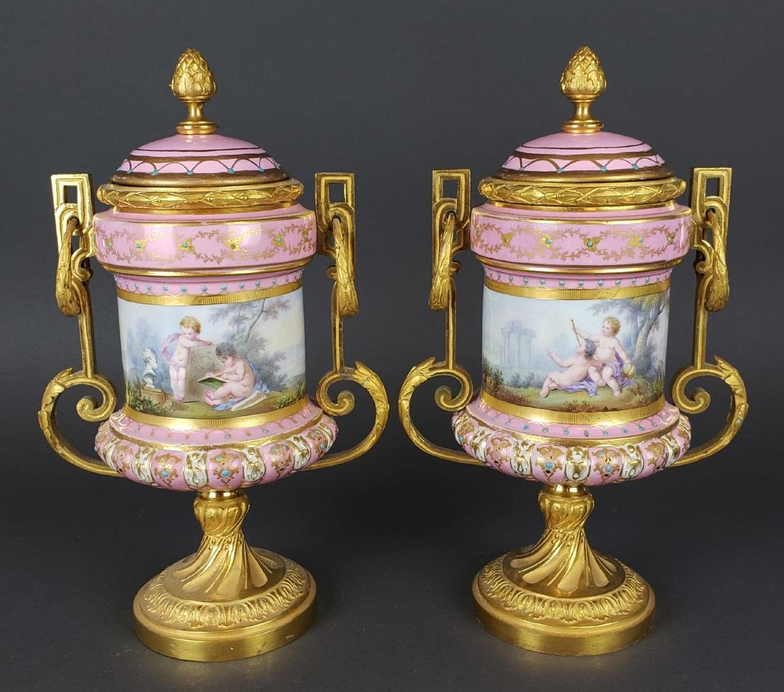 Pair of French Sevres Pink Porcelain & Bronze Urns - 7
