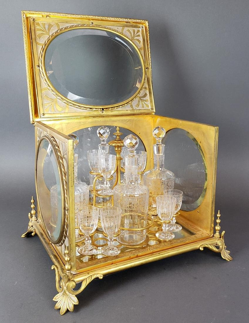 19th C. French Bronze & Baccarat Crystal Tantlus Set - 2