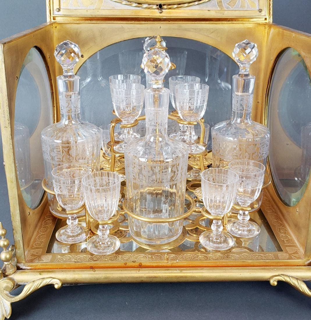 19th C. French Bronze & Baccarat Crystal Tantlus Set - 3