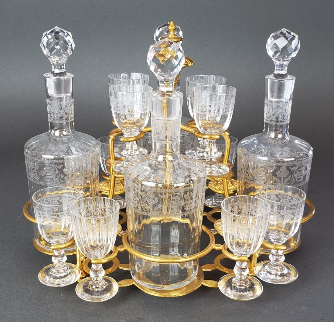 19th C. French Bronze & Baccarat Crystal Tantlus Set - 4