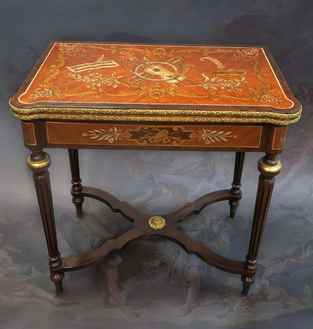 French Louis XV Style Marquetry Inlaid Bronze Game