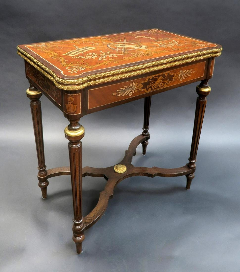 French Louis XV Style Marquetry Inlaid Bronze Game - 2