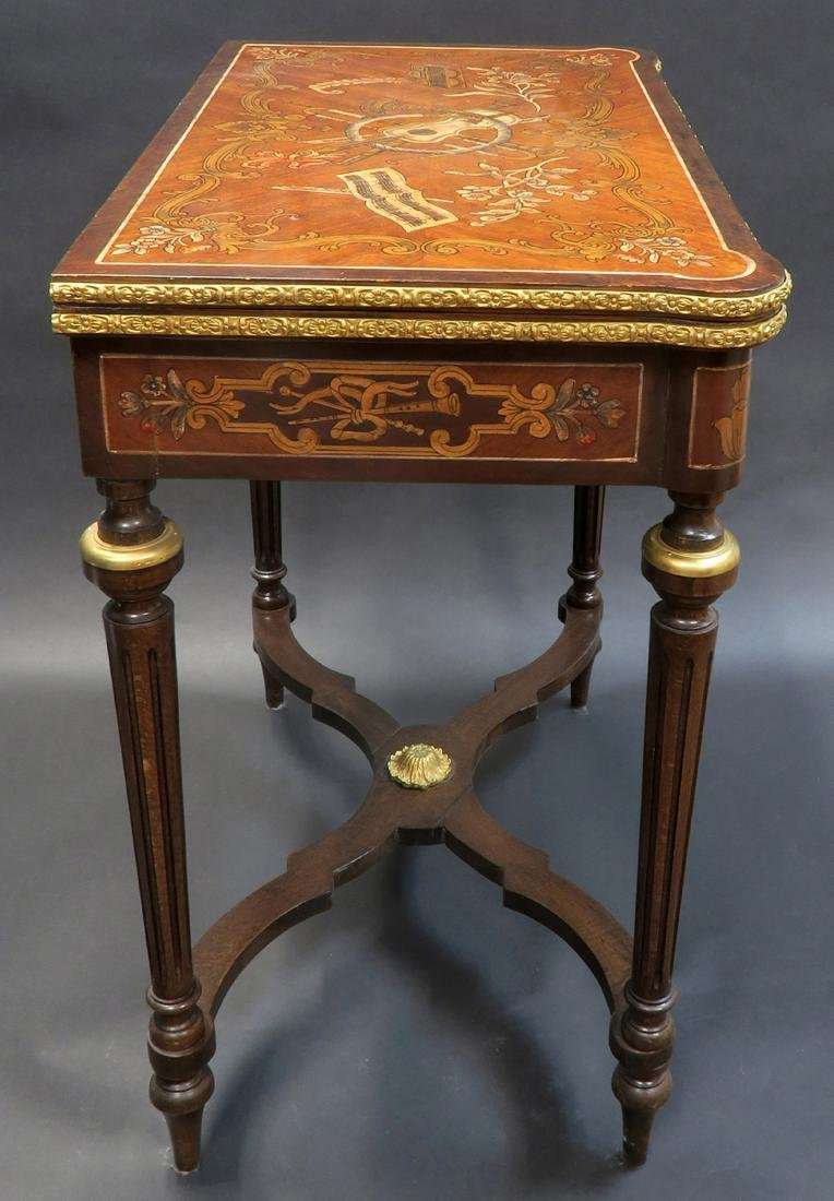 French Louis XV Style Marquetry Inlaid Bronze Game - 3