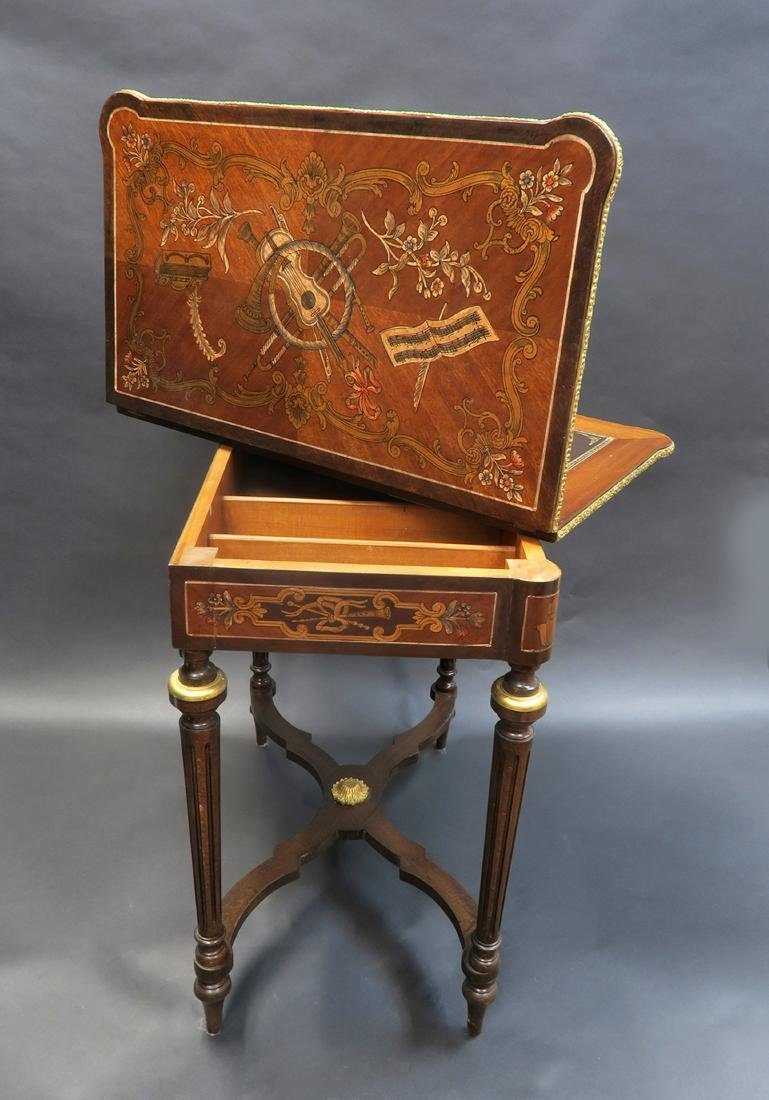 French Louis XV Style Marquetry Inlaid Bronze Game - 4