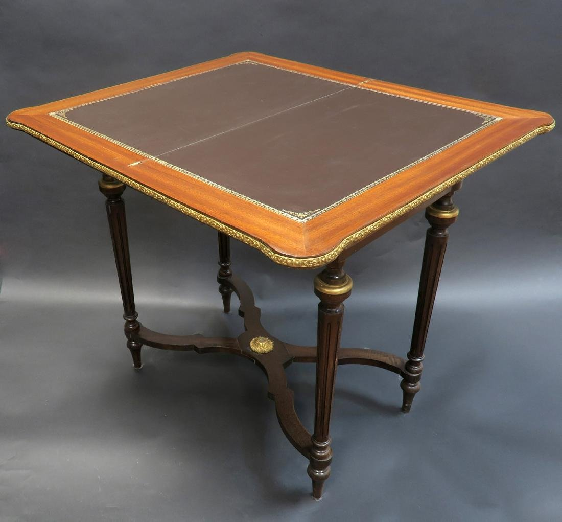 French Louis XV Style Marquetry Inlaid Bronze Game - 5