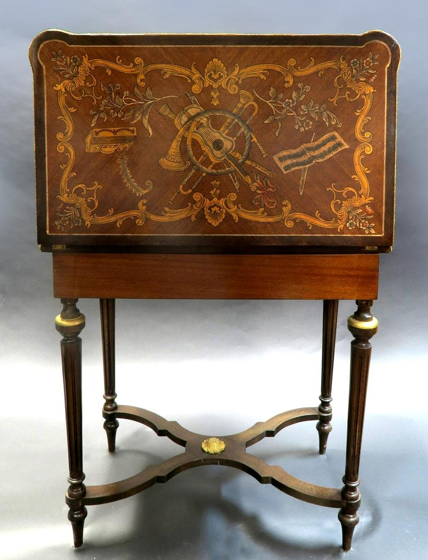 French Louis XV Style Marquetry Inlaid Bronze Game - 6