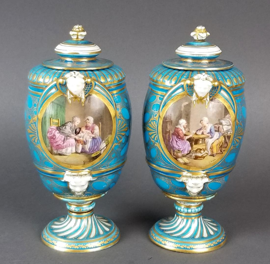 Pair of 19th C. French Sevres Porcelain & Bronze Urns