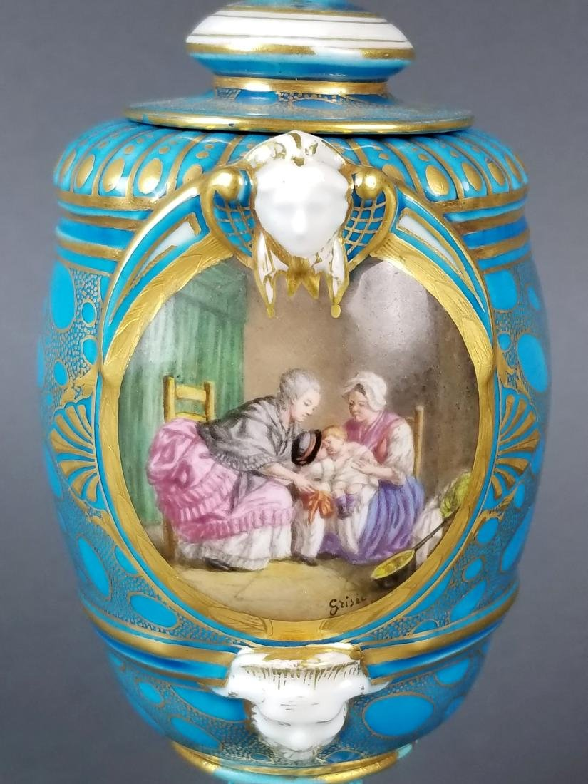 Pair of 19th C. French Sevres Porcelain & Bronze Urns - 3