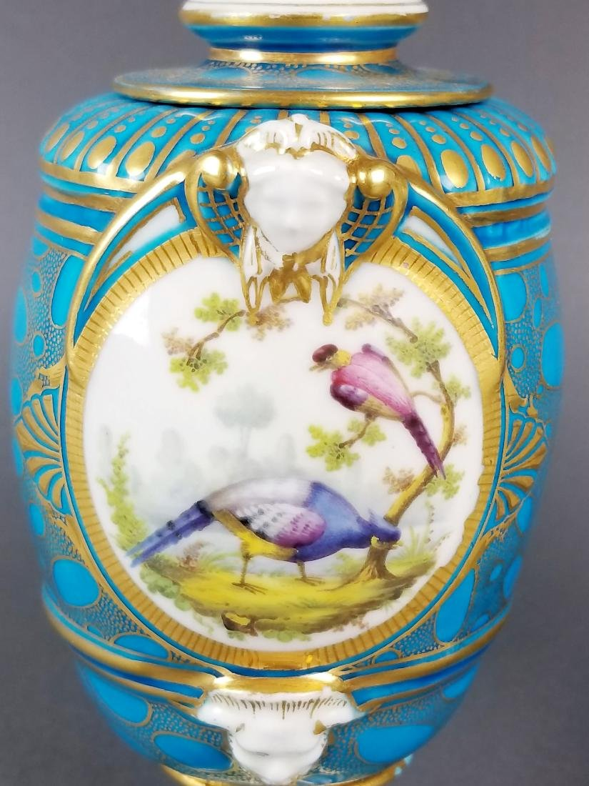 Pair of 19th C. French Sevres Porcelain & Bronze Urns - 8