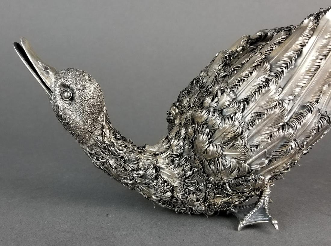 Large Buccellati Signed Silver Handmade Figure of Duck - 3