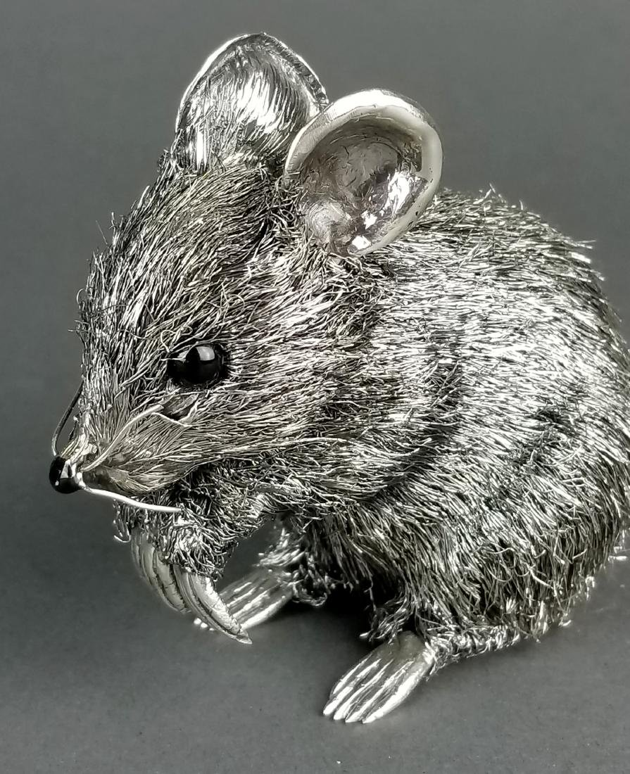 Large Buccellati Signed Silver Handmade Figure of Mouse - 3