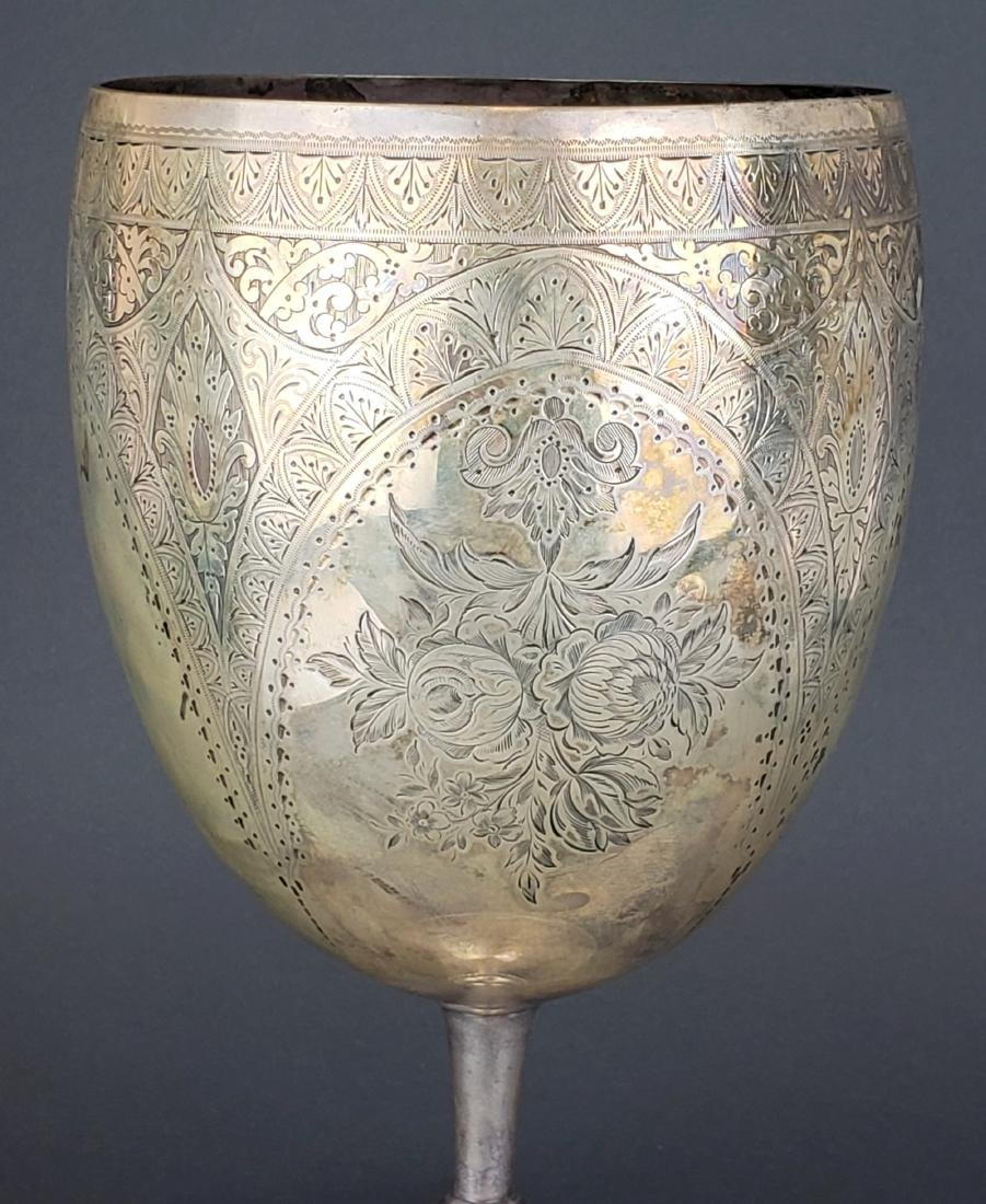 Large Continental Silver Engraved Chalice Cup - 2