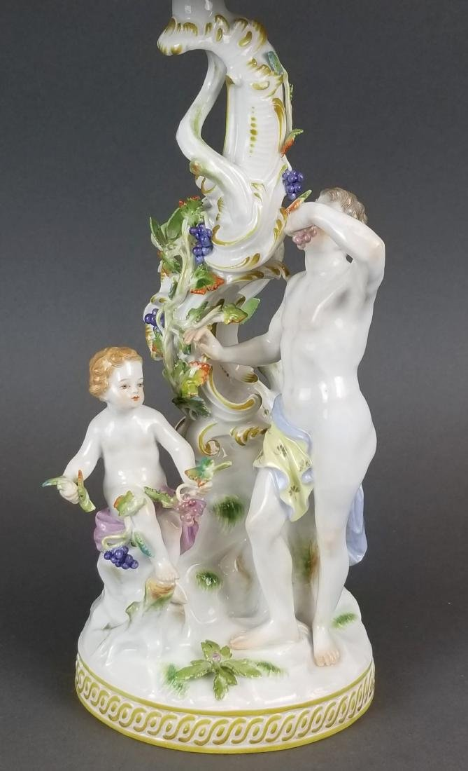 19th C. Meissen Porcelain Figural & Reticulated Cake - 2