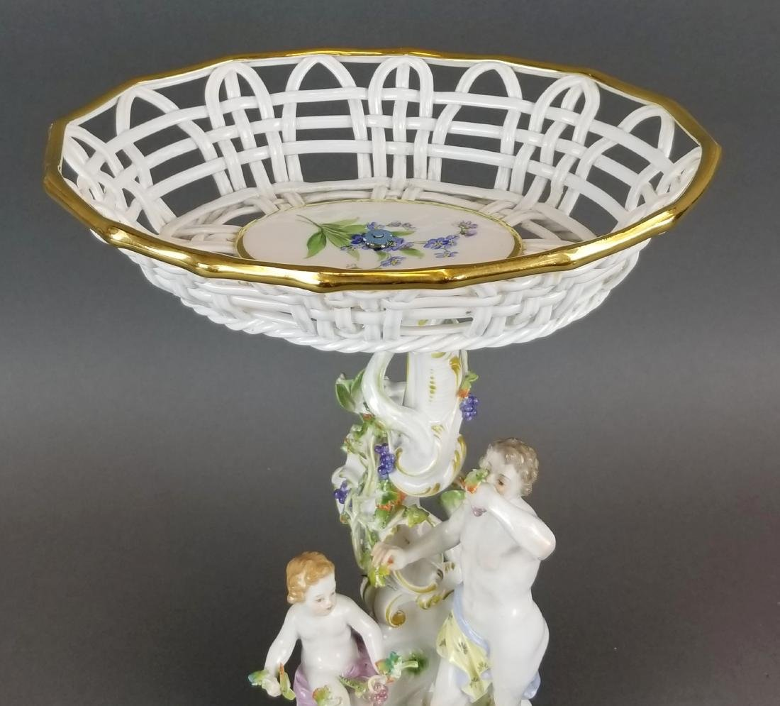 19th C. Meissen Porcelain Figural & Reticulated Cake - 3