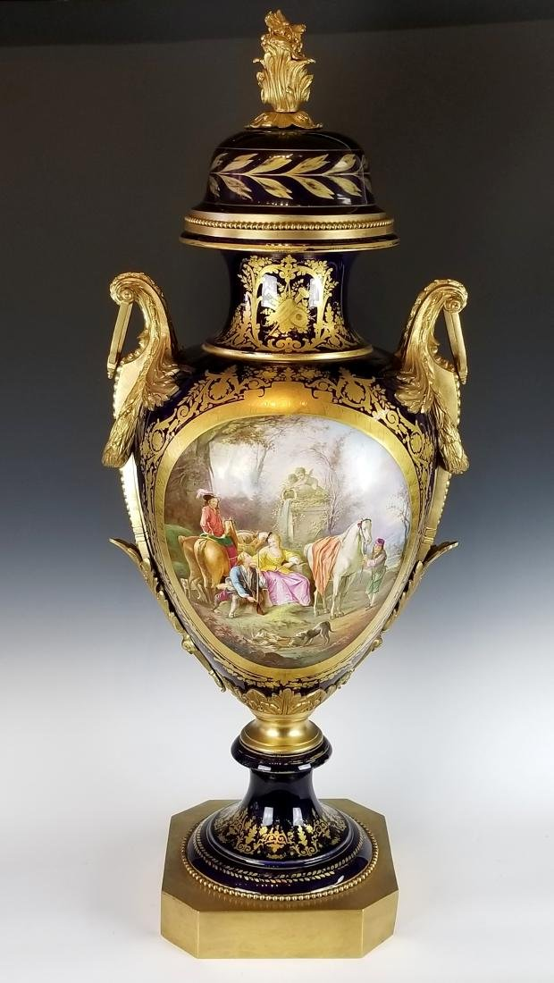 Late 19th C. Large French Sevres Gilt Bronze and