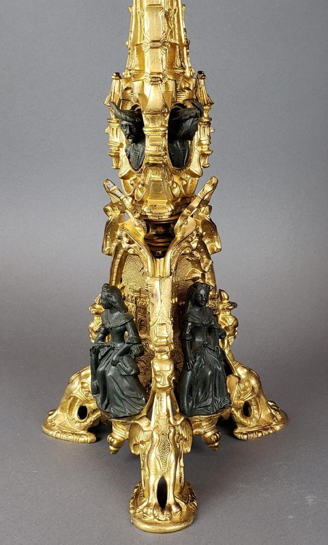 Pair of 19th C. French Gilt & Patinated Bronze Figural - 2